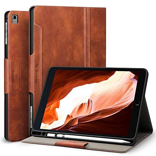 Antbox iPad Hülle für iPad Pro 9.7/ iPad Air/iPad Air 2 mit Apple Pencil Halter Auto Schlaf/Wach Funktion PU Ledertasche Schutzhülle Smart Cover (Braun)