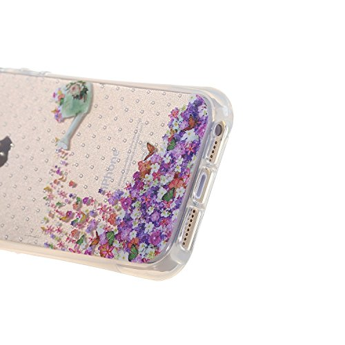 iPhone 5 Hülle,iPhone 5S Tasche,iPhone SE Case - Felfy Ultra Slim Weicher Gel Flexible TPU Case Schutzhülle Silikon Crystal Case Durchsichtig Muster Giraffe Plum Blume Tiger Transparent Silikon Ultrad Blütenfarbe