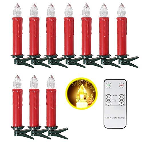 SunJas 10er Rot Weinachten Kerzen Weihnachtsbeleuchtung Weihnachtskerzen mit Fernbedienung kabellos Weihnachtsbaumkerzen 10/20/30/40er