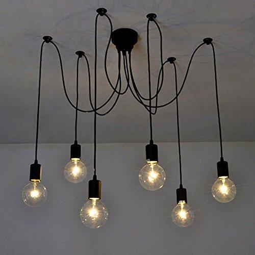 6 Braccia (Ciascuno con Filo 1,2M) DIY Lampada Base Lampadina E27 Retro Lampadario Pendente Per Casa Hotel