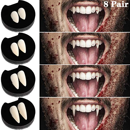 Boao 8 Pares de Dientes de Vampiro Colmillos Falsos Colmillos Personalizados Dentadura Postiza para Fiesta de Cosplay Accesorios de Halloween