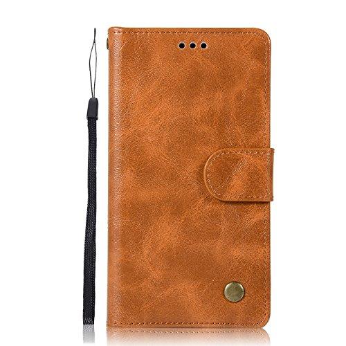Chreey Alcatel Pixi 4 (5.0) Hülle, Premium Handyhülle Tasche Leder Flip Case Brieftasche Etui Schutzhülle Ledertasche, Goldgelb