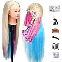 """MYSWEETY 29"""" Multicolor Cabeza de Entrenamiento de Peluquería de Cabello Cabezal de Práctica Modelo Maniquíes de aprendizaje sintético con el pelo largo (con soporte)"""