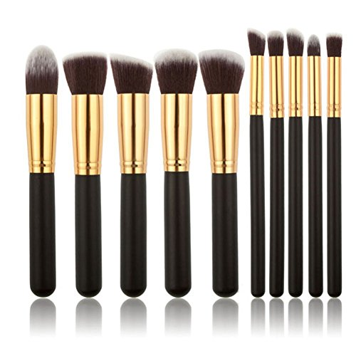 ROMANTIC BEAR Pinceaux de maquillage 10Pcs professionnel cosmetiques maquillage Brush Set