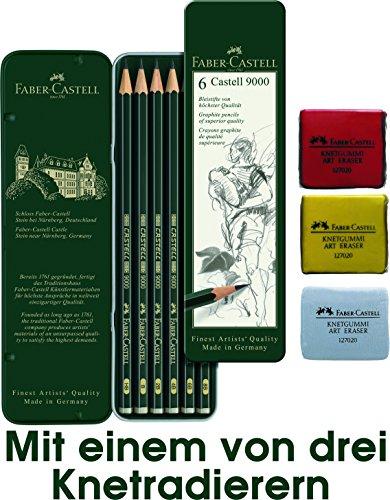 Faber-Castell 119063Castell 9000 Estuche de 6lápices + goma para amasar, color al azar