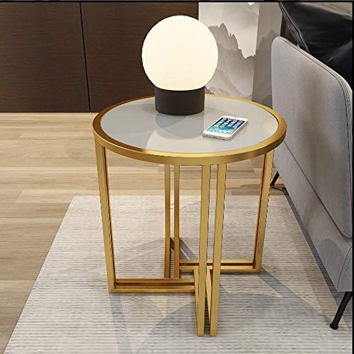 Ecke Akzent Möbel (Klapptisch YANFEI, Ecke, Gold Metallrahmen Marmor und Massivholz Arbeitsplatten, 54 * 54 * 53cm (Farbe : Gray solid Wood))