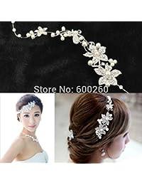 vulna £ ¨ TM £ © Nueva caliente vender Lujo Plata Rhinestone perlas de flores de novia diadema peine para pelo mujer joyería
