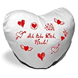 Herzkissen mit Namen Nicole und Motiv - Ich liebe Dich - zum Valentinstag - Herzkissen personalisiert Kuschelkissen Schmusekissen