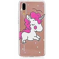 Ttimao Funda Huawei P20,Ultra-Delgado Cristal Claro TPU Teléfono Silicona Caso Super Suave Antichoques Casos de Piel Para Huawei P20-Pink Unicorn