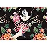 decomonkey Fototapete Blumen Japan Asien Orient 250x175 cm XL Design Tapete Fototapeten Vlies Tapeten Vliestapete Wandtapete moderne Wand Schlafzimmer Wohnzimmer Schwarz Rose Vogel Weiß