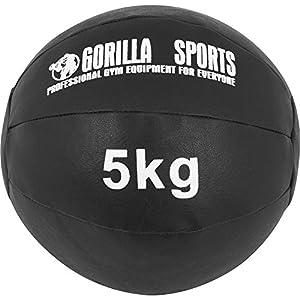 GORILLA SPORTS® Medizinball Kunstleder Schwarz 5 kg