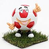 Dekohelden24 Keramik Spardose Funny Football in Rot/Weiss, ca. 15 x 12 x 14 cm