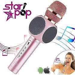 STARPOP Micrófono Inalámbrico Karaoke con Altavoz Portátil Bluetooth | 2 Altavoces Incorporados Perfecto para Karaoke | Compatible iPhone Android iPad PC AUX | Batería Larga Duración | Rose Gold