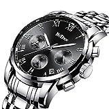 Uhr, Herrenuhr Edelstahl wasserdicht Herren klassischen Casual Business Armbanduhr Multifunktions mit Datumskalender Quarzuhr Silber