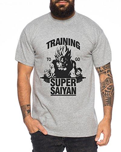WhyKiki Goku Super Saiyan Herren T-Shirt One Goku Dragon Master Son Ball Vegeta Turtle Roshi Piece Golds DB Dunkelgrau Meliert