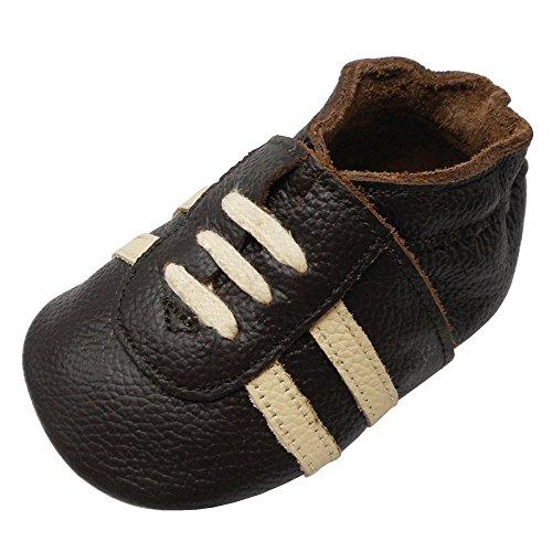 YIHAKIDS Weicher Leder Lauflernschuhe Krabbelschuhe Babyhausschuhe Turnschuh Sneakers mit Wildledersohlen(Dunkelbraun,24-36 Monate)