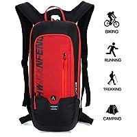 10L Mochilas de Hidratacion Ciclismo al Aire Libre de Unisex Multifuncional Impermeable de Poliester Para Viaje (rojo)
