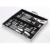 Holzsammlung® Cubertería de 18 piezas para barbacoa de acero inoxidable para barbacoa Cubiertos en maletín de aluminio #2