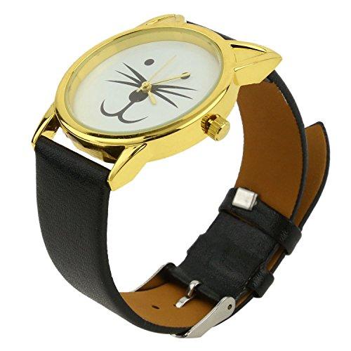 SODIAL(R)Barba de gato de las mujeres Reloj de pulsera brazalete de cuero sintetico£¨Negro con cascara de Oro£