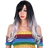 Peluca tocado bicolor degradado gris plata hembra larga rizada peluca dama