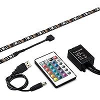 kwmobile strisce LED di retroilluminazione per TV USB a colori RGB , 2x50cm, illuminazione backlight entertainment, in nero, strisce LED autoadesive, telecomando a infrarossi incluso