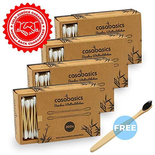 800 Bastoncillos Algodón Bambú + 1 Cepillo Dientes