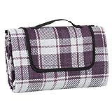 Purple & White Check Folding Acrylic Blanket Camping Waterproof Picnic Mat Rug