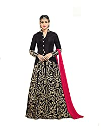 AnK Anarkali Kurtis for Women, Embroidered Banglori Silk Semi-Stitched Long -