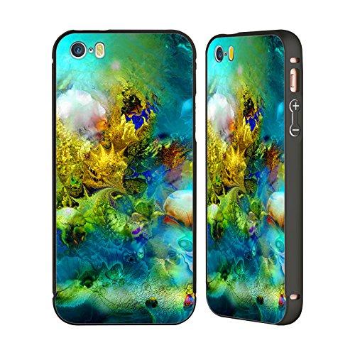 Ufficiale Runa Fiori Magici Barriere Del Mare Nero Cover Contorno con Bumper in Alluminio per Apple iPhone 5 / 5s / SE Corallo Smeraldo