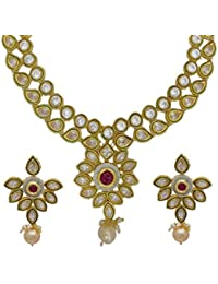 My Design New Designer Gold Plated AD Stone Bridal Necklace Set For Women And Girls