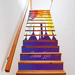 Treppenaufkleber, 13 Stück Urlaub Dekoration Aufkleber Treppenaufkleber Treppen Kreative Wandaufkleber Art Deco Murals Murals Wandtuch 18 * 100cm Schlafzimmer Home Wohnzimmer Küche