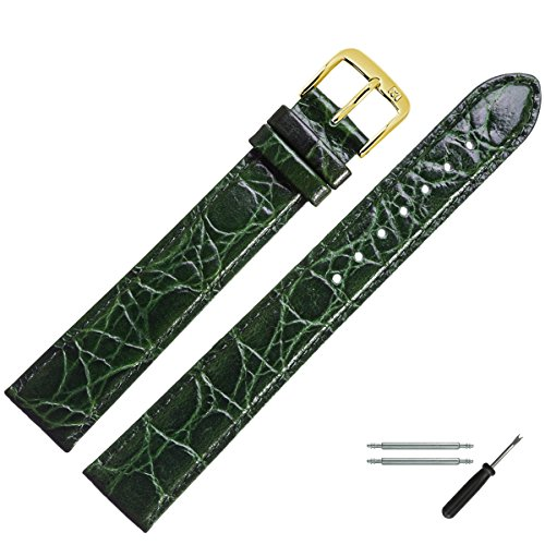 MARBURGER Uhrenarmband 20 mm Leder Grün - Rindsleder, Kroko Prägung - Inkl. Zubehör - Ersatzarmband, Schließe Gold - 6812060000220