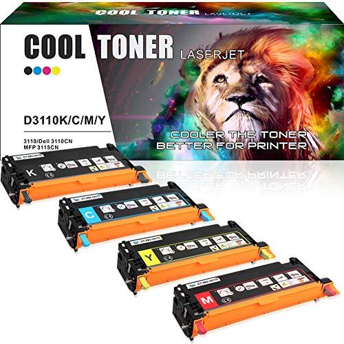 Cool Toner 4-Pack Kompatibel für Dell 3110 3110CN, MFP 3115CN Drucker, Kompatibel für 593-10170 593-10171 593-10172 593-1017, Gelb Magenta Schwarz Cyan, 8000 Seite - Dell Drucker