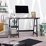 Maison dans Une boîte Ordinateur Bureau Tréteau de Table pour Ordinateur Portable PC Wood Home Office Desk Table carrée étudier Lecture Noir Bureau avec 2étages Ouverts étagères Armoire Noir