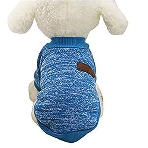Haustierkleidung,Haustier Hund Katze Classic Sweater Pullover Kleidung Warm Sweater Winter (Blau, M)