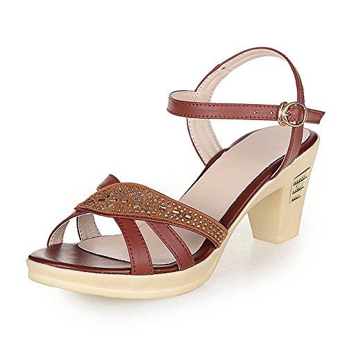 XY&GKSandalen Damen Sommer Ferse Mama's Sandalen aus echtem Leder Größe Middle-Aged Strass Sandaletten High Heel Damen Sandalen, komfortabel und schön 39 Brown