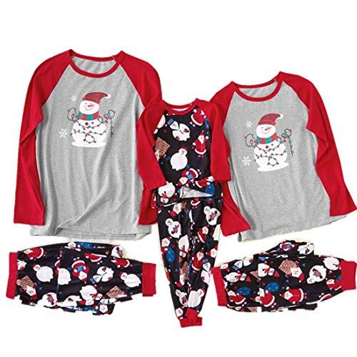 kolila Weihnachten Familien Pyjamas Sets Weihnachten Herren Damen Kinder Schneemann Printed Tops + Hose Christmas Family Clothes Schlafoveralls Schlafanzug