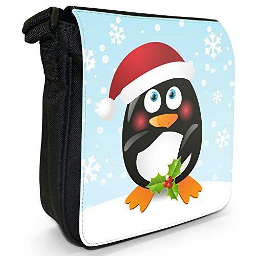 Pinguini Piccola Natalizia Nera Pinguino Con Agrifoglio