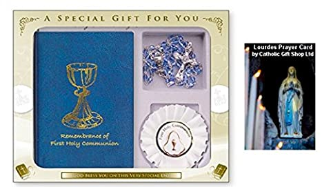 Remembrance of My First Holy Communion Book Gift Set & LOURDES PRAYER CARD