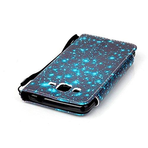 Galaxy Grand Prime Hülle, Tasche Ledertasche Flip Beutel Haut Slim Fit Bumper Schutz Magnetisch Schließung Stehening Soft SchutzHülle Weich Silikon Cover Case Schale für Samsung Galaxy Grand Prime G53 Sternenhimmel