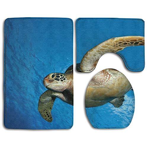 Zengyan Bathroom Accessories Sea Creature Hammerhead Shark Ocean Blue Non-Slip Bath Mat Set 3 Piece Includes 19.7X15.7 Inch Contour Rug 13.8X17.7 Inch Lid Toilet Cover 31.5X19.7 Inch Bath Rug -