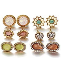 406fc334f Yellow Chimes 6 Pairs Combo Set Stylish Crystal Gold Plated and Opal Stud  Earrings for Women