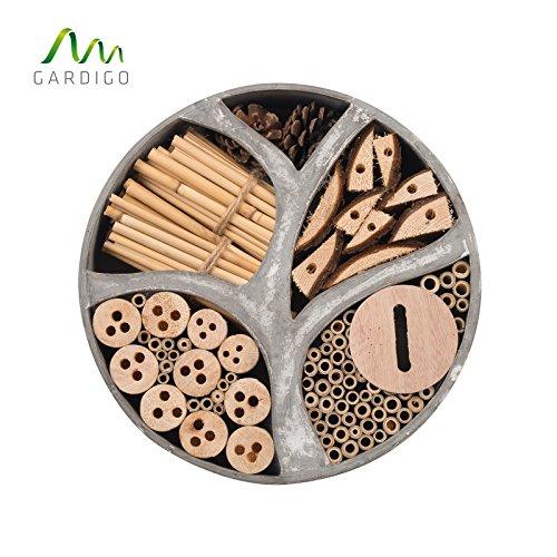 Gardigo 90567 - Hôtel à Insectes Rend en Bois Naturel/Bambou; Refuge pour Hibernation/Nidification; Maison, Abri, Nichoir à Coccinelle Abeilles Papillons Guêpes; 30 x 30 x 6,5 cm