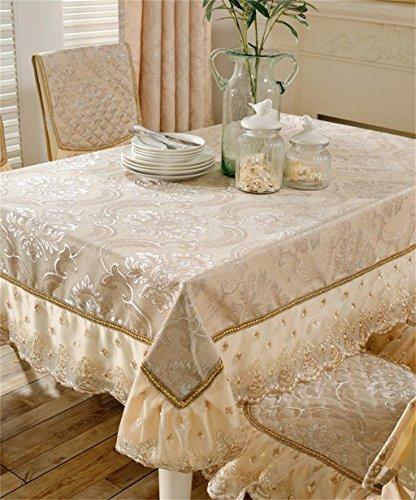 LLD ZHUOBU LIANGLIANG Europäische rechteckige quadratische Baumwolle Leinen Spitze Tischdecken Home Tisch deckt Gold Multi Size (größe : 180 * 180cm)