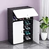 Shoe Cabinet Storage Organizer By House of Quirk Storage with 3 Doors - White/Black
