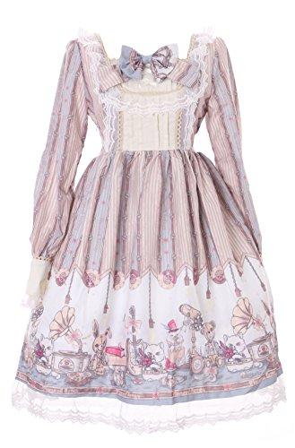 Steam Punk Bär Katze Hase Pastel Goth Lolita Langarm Kleid Cosplay Kostüm Harajuku (Steam Punk Kleider)