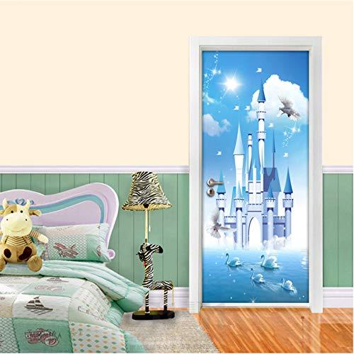 Weiße Wolken Schwanensee Blaues Schloss 3D Kinderzimmer Schlafzimmer Tür Dekoration Aufkleber Selbstklebendes Vinyl Tapeten Kids 77 * 200Cm ()