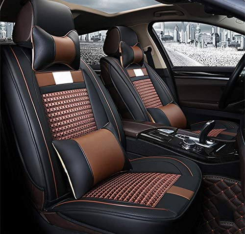 Ice Silk Autositzbezug Leder Für Volkswagen BMW E46 E60 E90 Audi A3 A4 B8 Ford Focus Fiat Skoda Rapid Zubehör Car Styling,Brown Ford Taurus Stereo