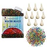 TOAOB 50000pcs Aqualinos Perlen Wasserperlen Gelperlen Wachsende Kristallboden mit 10pcs Wasserballons für Sensorische und als Deko für Blumenvase