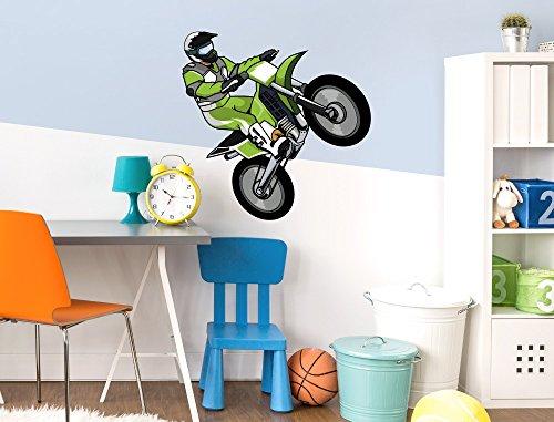 """Preisvergleich Produktbild I-love-Wandtattoo WAS-10408 Kinderzimmer Wandsticker """"Motocross Fahrer im Sprung mit kontrastreichen Farben in Grün"""" zum Kleben Wandtattoo Wandaufkleber Sticker Wanddeko"""